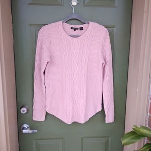 Jeanne Pierre Pink Cable Knit Sweater